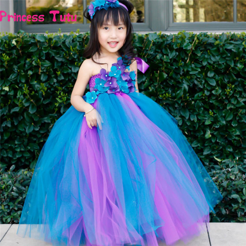 Flower Girl Peacock Tutu Dress Single Shoulder Strap Baby Kids Party Birthday Wedding Pageant Tulle Dress Princess Costume 2-14Y axe