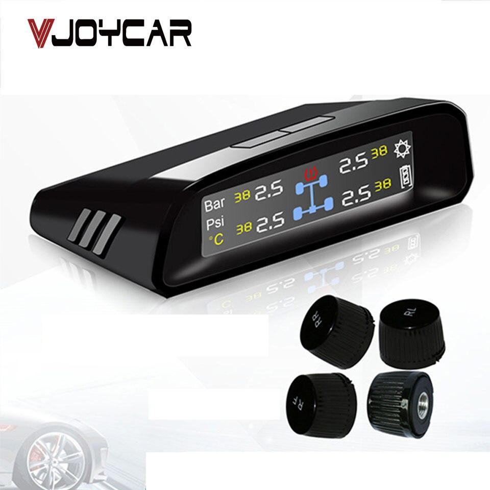 imágenes para Sistema de Monitoreo de Presión de Neumáticos Wireless 4 Sensores Externos TW400 VJOYCAR Cigarrillo Encendedor Solar Panel de Visualización De La Temperatura de Alarma