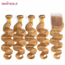 Miss Rola Hair Pre-colored Ombre Peruvian Body Wave Hair #27 Non-Remy  Human Hair Weave 4 Bundles with Closure Hair Extensions
