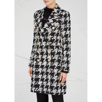 EXCELLENT QUALITY 2018 Stylish Designer Blazer Coat for Women Double Breasted Lion Buttons Tweed Houndstooth Wool Coat