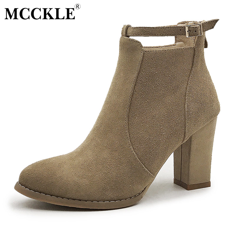 MCCKLE Ladies Fashion Buckle Zip Slip On Ankle Boots 2017 Women's Flock Thick Heel Autumn Style Casual Black Platform High Heels mcckle 2017 ladies fashion sexy autumn winter ankle boots female slip on zip black solid platform high heels plus size34 43