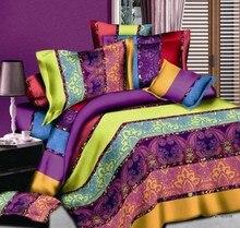 Boho Bedding sets Striped Paisley Bohemian duvet cover set bed in a bag sheet bedspread quilt linen Queen size Full double 4PCS