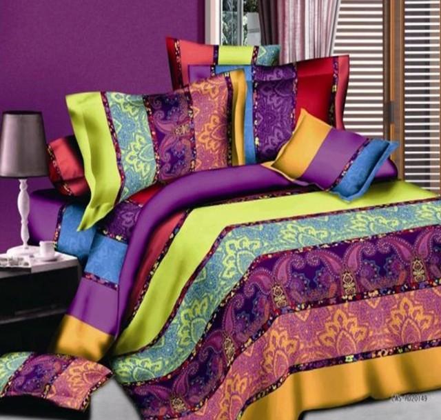 Boho Bedding Sets Striped Paisley Bohemian Duvet Cover Set Bed In A Bag Sheet Bedspread Quilt