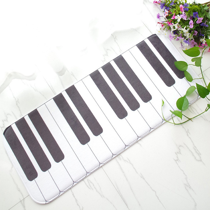 sports shoes 59860 51fdf New Piano Keys Printed Creative Cartoon Mat Long Absorbent Non-slip Kitchen  Bathroom Carpet Bedroom Living Room Rug Doormat