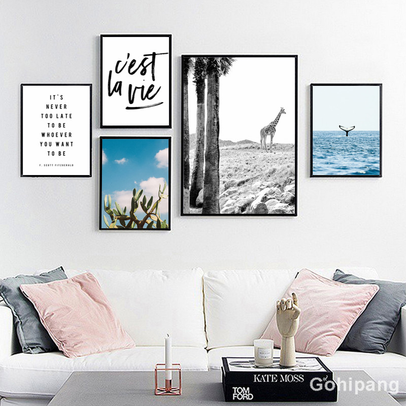 Gohipang-Nordic-Landscape-Decoration-Whale-Giraffe-Phrase-Canvas-Painting-Posters-And-Prints-Living-Room-Wall-Art
