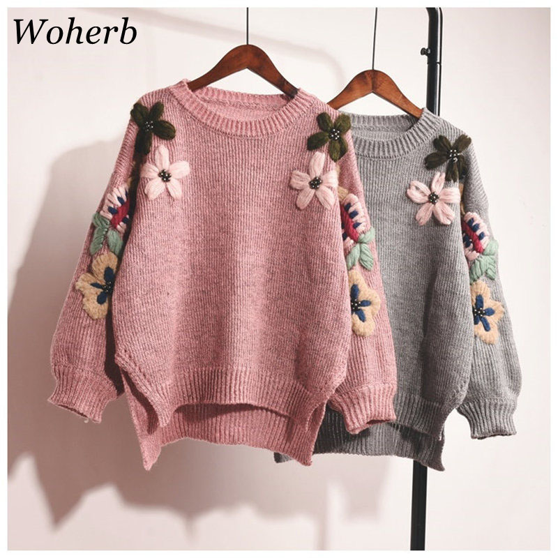Woherb Autumn 2019 Elegant Flower Embroidery Knitted Sweater Women Loose Vintage Pullover Sueter Mujer Jumper Pull Femme 20111
