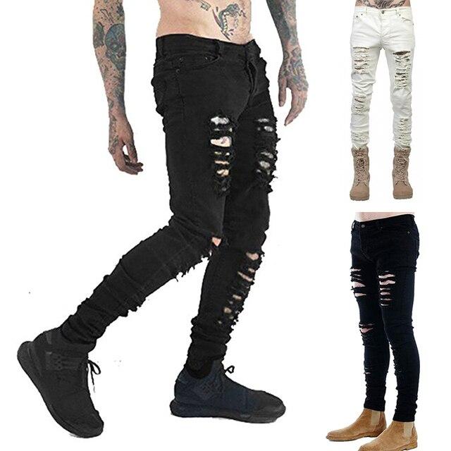 cabe7c7026d Mens Ripped Blcak White Skinny Jeans Distressed Holes Frayed Slim Fit Denim  Pants