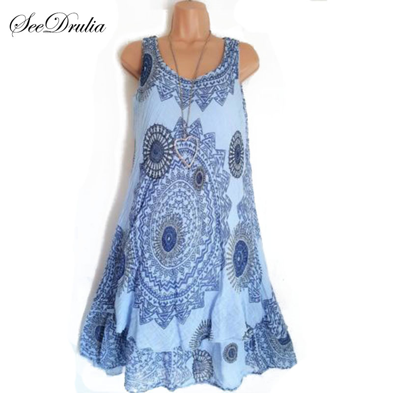 Seedrulia Bohemian Style New Soft Sleeveless Printing A-Line Dress For women Boho Loose Causal Dress Plus Size Beach Sundress