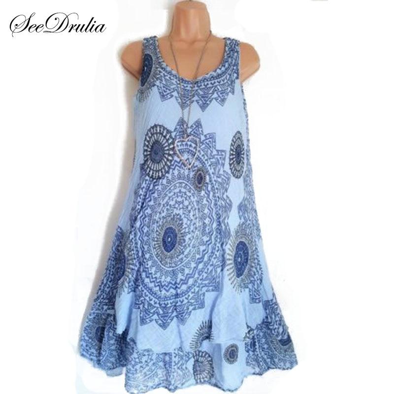 Seedrulia Bohemian Style New Soft Sleeveless Printing A-Line Dress For women Boho Loose Causal Dress Plus Size Beach Sundress