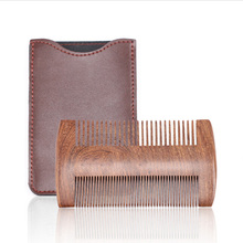 New Natural Sandalwood Wooden Comb Anti-Static Beard Brush Mustaches Pocket Wood Hair with Case