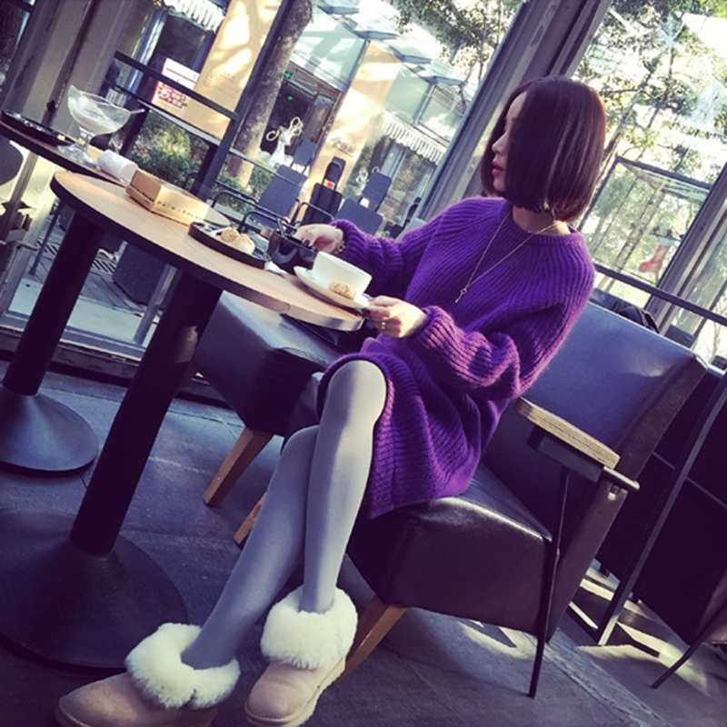 17149a7f81 Suéter del resorte longue o-cuello suéter de lana mujeres lana suéteres  pull Femme gilet Femme Manche longue ropa de mujer suelta