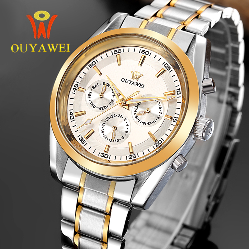 2016 NEWEST OUYAWEI GOLD mechanical watch Top Brand Luxury army wrist watches for men 22mm leather