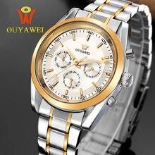 2016 DATE OUYAWEI OR mécanique montre Top Marque De Luxe armée bracelet montres pour hommes 22mm en cuir squelette reloj hombre