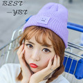The New 2016 Square Smiley Labeling Wool Hat Autumn and Winter Female Couple Models Pointy Hat Knitted Hat Male Tide