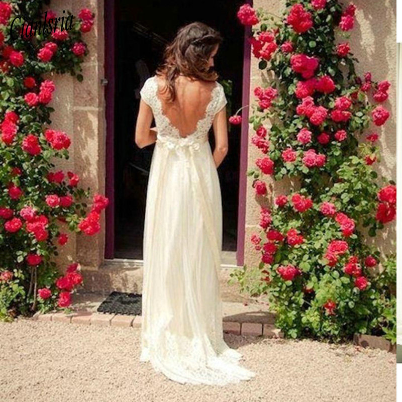 Backless Beach Wedding Dresses V Neck Flowing Vintage Boho: Vintage Bohemian Wedding Dress Beach A Line Backless Sheer