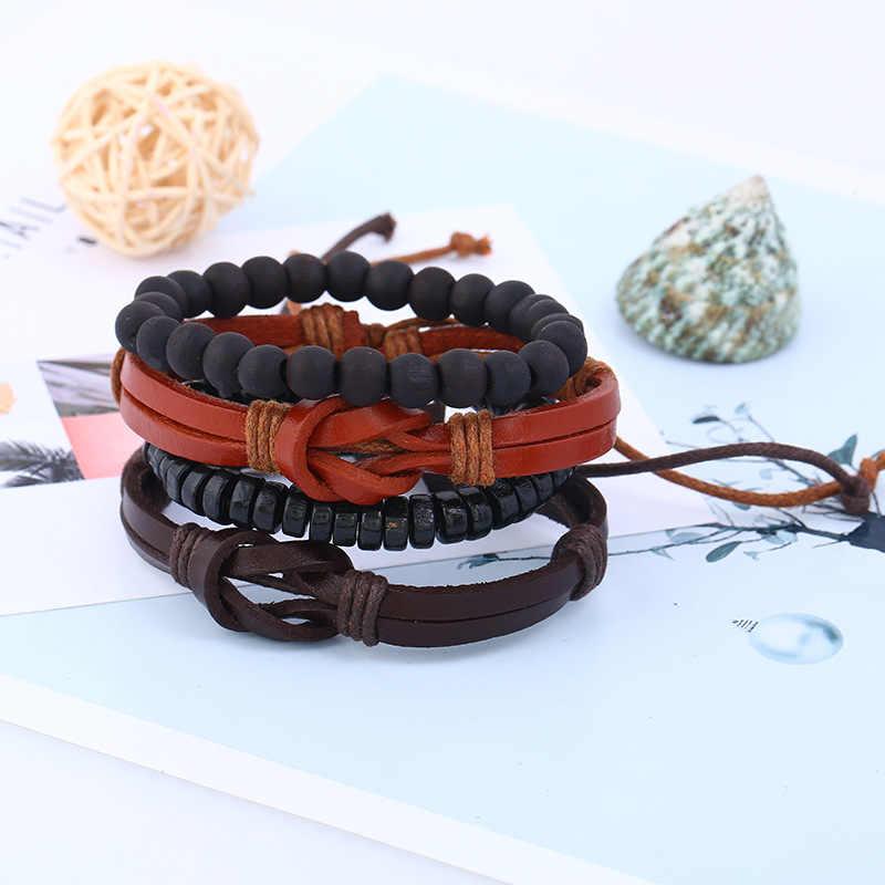 4 sztuk/zestaw Retro Boho Punk czarny brązowy warkocz skórzane węzeł urok granatowy koraliki drewniane wielowarstwowe bransoletki bransoletki biżuteria unisex
