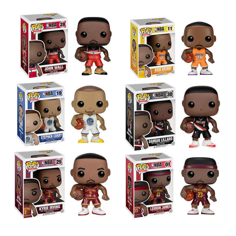 Funko pop estrela de basquete james-kobe-stephen curry-kyrie irving-john wall-action figure collectible modelo de brinquedo para os fãs