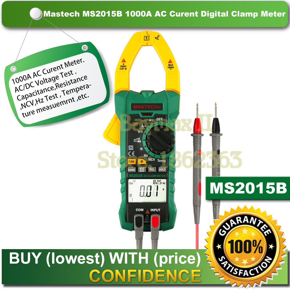 цена на MASTECH MS2015B 1000A AC Clamp Meters with Resistance,Capacitance,Frequency,Temperature and NCV Test