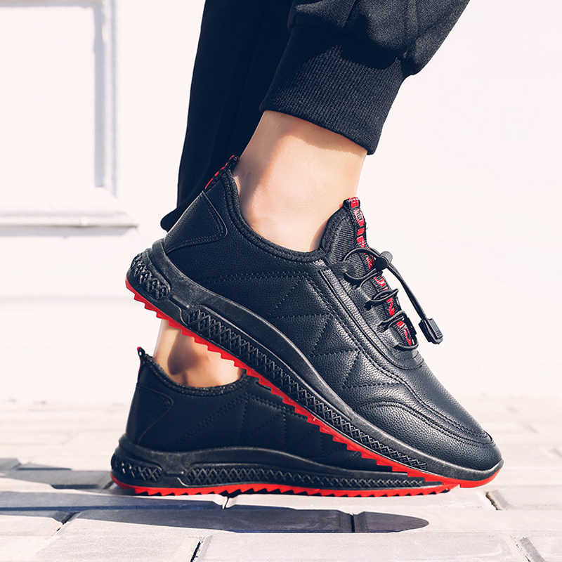 Men Running Shoes Waterproof Comfortable Warm Leather Sport Shoes For Male Outdoor Walking Lightweight Sneakers Black Size 39-44