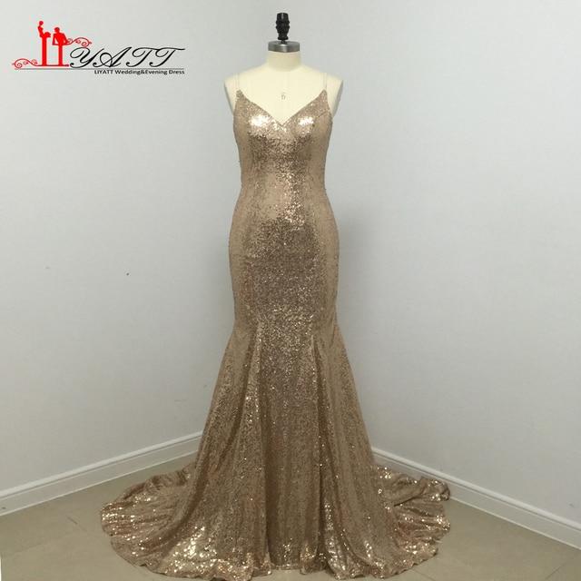 Abendkleider lang gold glitter