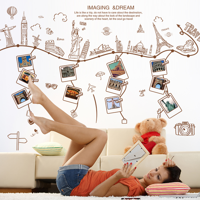 Shijuehezi world travel photo frame wall stickers famous for Wall stickers for living room malaysia