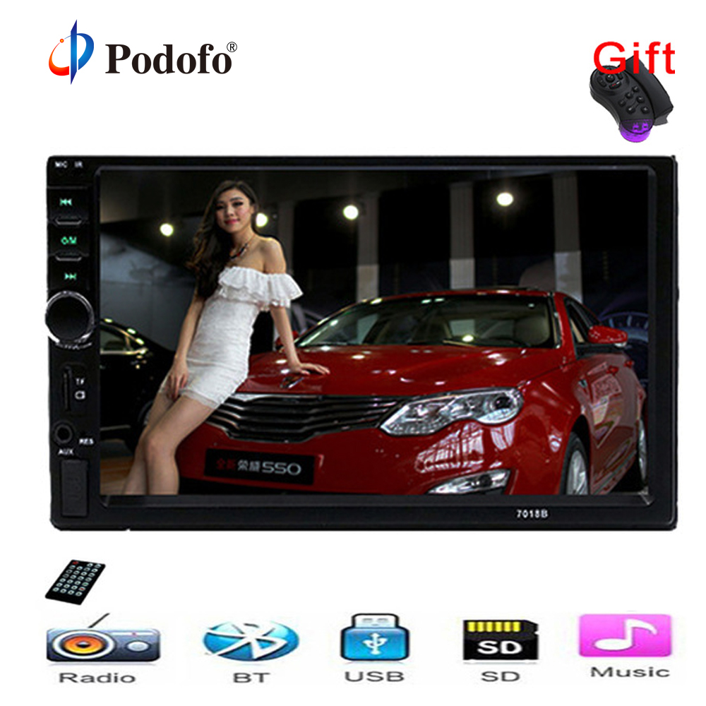 Autoradio 2 Din General Car Models 7'' inch LCD Touch Screen Car Radio Player Bluetooth Car Audio Support Rear View Camera <font><b>7018B</b></font> image