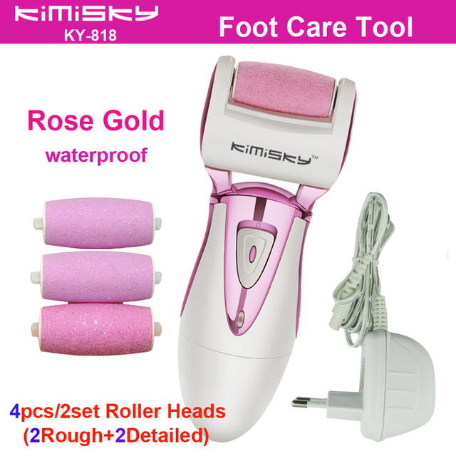 Rose Gold waterproof charging pedicure electric tools Foot Care Exfoliating Foot Care Tool and 4Ps roller pedicure heads KIMISKY