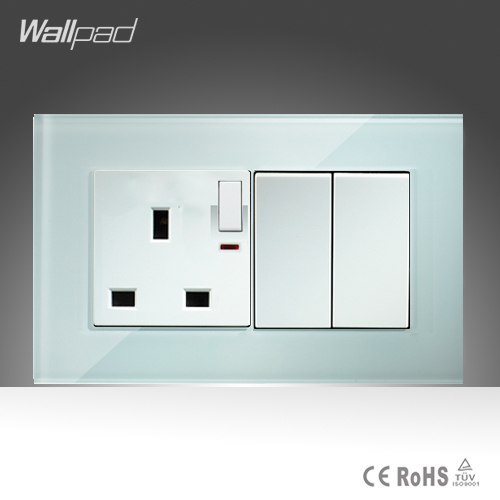 13A UK Switched LED Socket and 2 Gang Wallpad 146*86mm BS CE White Crystal Glass UK Socket with LED Indicator and 2 Gang Switch