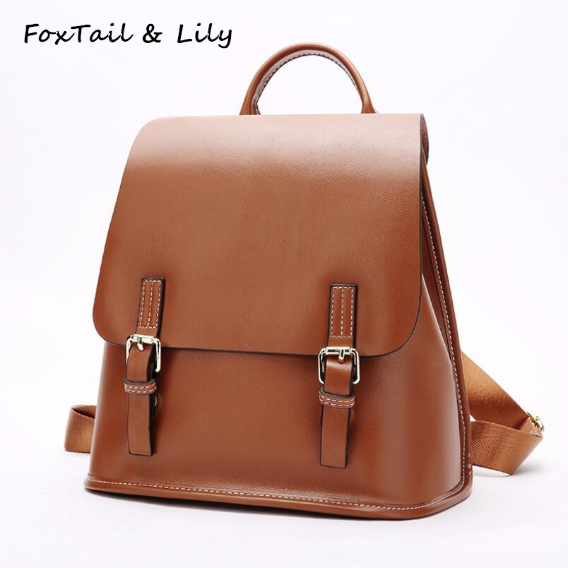 FoxTail & Lily Genuine Leather Women Backpack Trendy Preppy Style Female Shoulder Bags Girl School Bag Casual Travel Backpacks preppy style school bag women backpack shoulders female travel bags kanken high quality leather backpacks bolsas free shipping