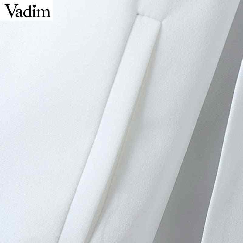 Vadim frauen elegante schwarz weiß v-ausschnitt mantel taschen büro tragen feste oberbekleidung weibliche casual chic öffnen stich tops CA347