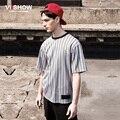 Viishow listrado verão camiseta manga curta homens Hip Hop europa rua carta de beisebol t-shirt listras verticais camiseta TD95362