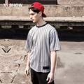Viishow verano de rayas camiseta de manga corta para hombre de Hip Hop Europe Street gorra de béisbol carta de rayas verticales de la camiseta TD95362