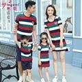 2017 Summer Family Set Couple Clothes Sport Suit Men Boy Clothing Set, Women Striped Dress Girls Dress family look
