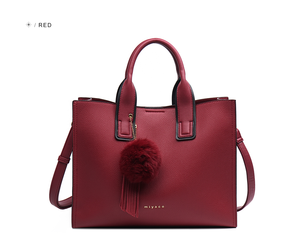 Miyaco Women Leather Handbags Casual Brown Tote bags Crossbody Bag TOP-handle bag With Tassel and fluffy ball 28