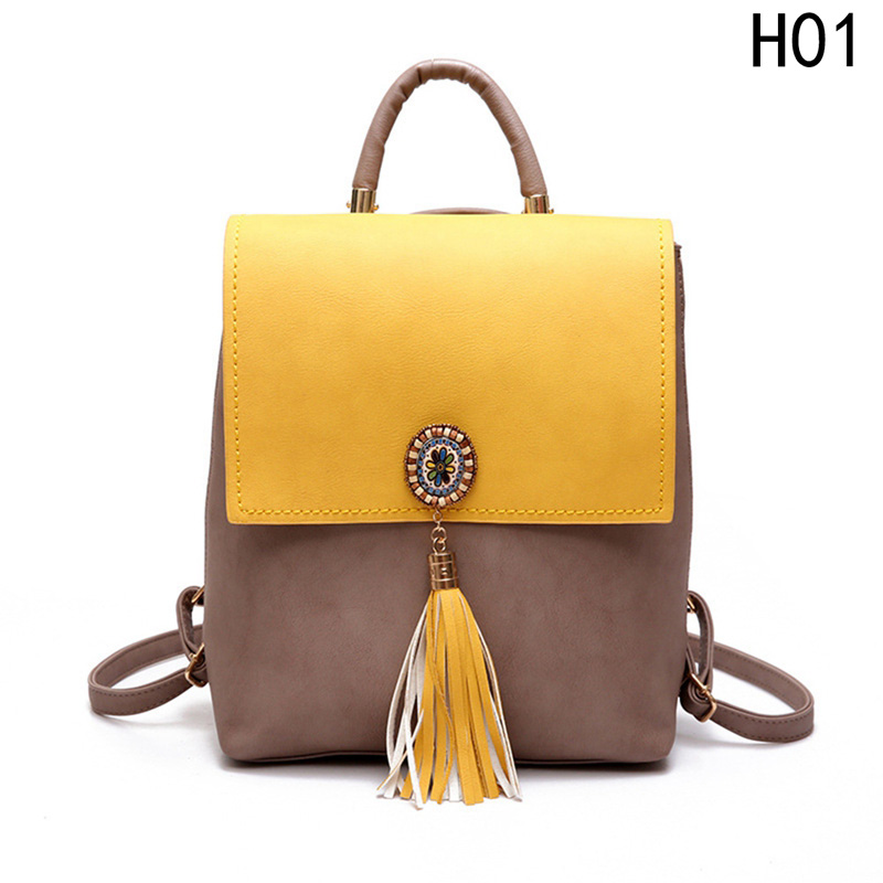 For Girls Women`s Backpack PU Leather Female Backpack Women Small Backpack Fashion Tassel Fashion Shoulder Bag Cute School Bags 2016 new fashion women backpack girls leather school bag women casual style shoulder bags sweet color