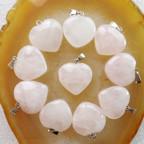 Free Shipping 10Pcs 22x20x6mm Beautiful Rose Quartzs Heart Pendant Bead (Min.order 10$ Mix)