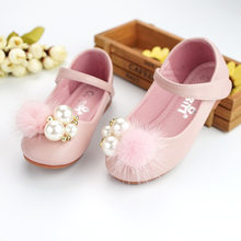 Cute toddlers baby girls rabbit fur pompom shoes for children kids leather single shoes girls princess shoes(China)