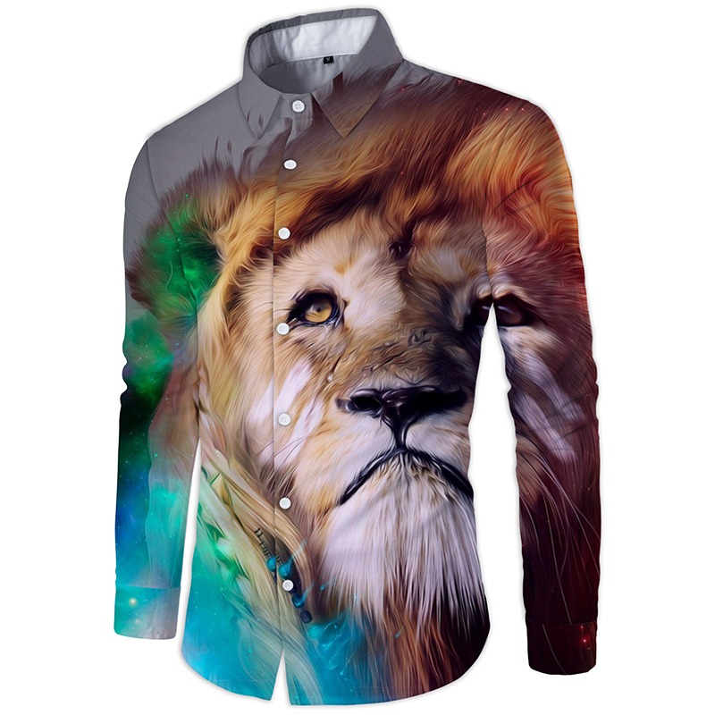 Cloudstyle Golden Lion Long Sleeves Shirt Chemise Homme Manche Ou Code M-2XL Camisa Masculina Fashion Show Blouse Wedding Dress