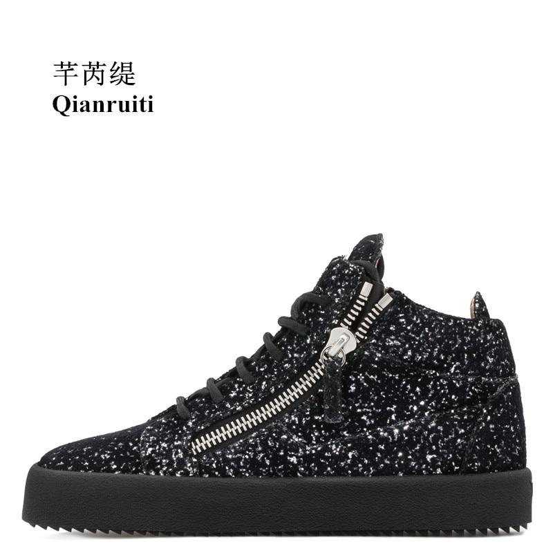 Qianruiti Men Sequins Sneaker Top Zipper Flat Thick Bottom Creepers Lace-up Zapatillas Hombre Shoes for Men EU35-EU47 Сникеры