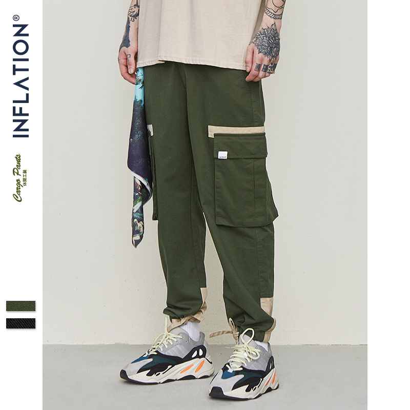 INFLATION Men's Cargo Pants 2019 Mens Japanese Streetwear Sweatpants Male Multi-pocket Joggers Pants Drawstring Trousers 9325S