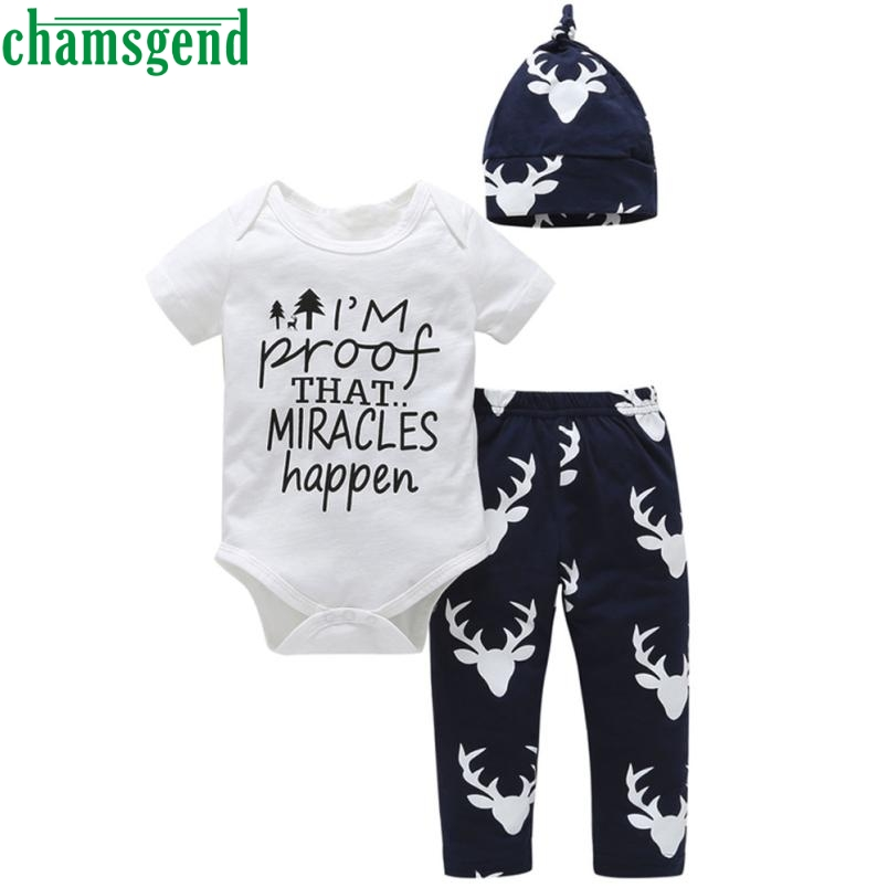 CHAMSGEND cute White Newborn Baby Girls Boys Short Cotton Letter Print Tops+Pant 3PCS Outfits Set Clothes gift p30 baby clothes