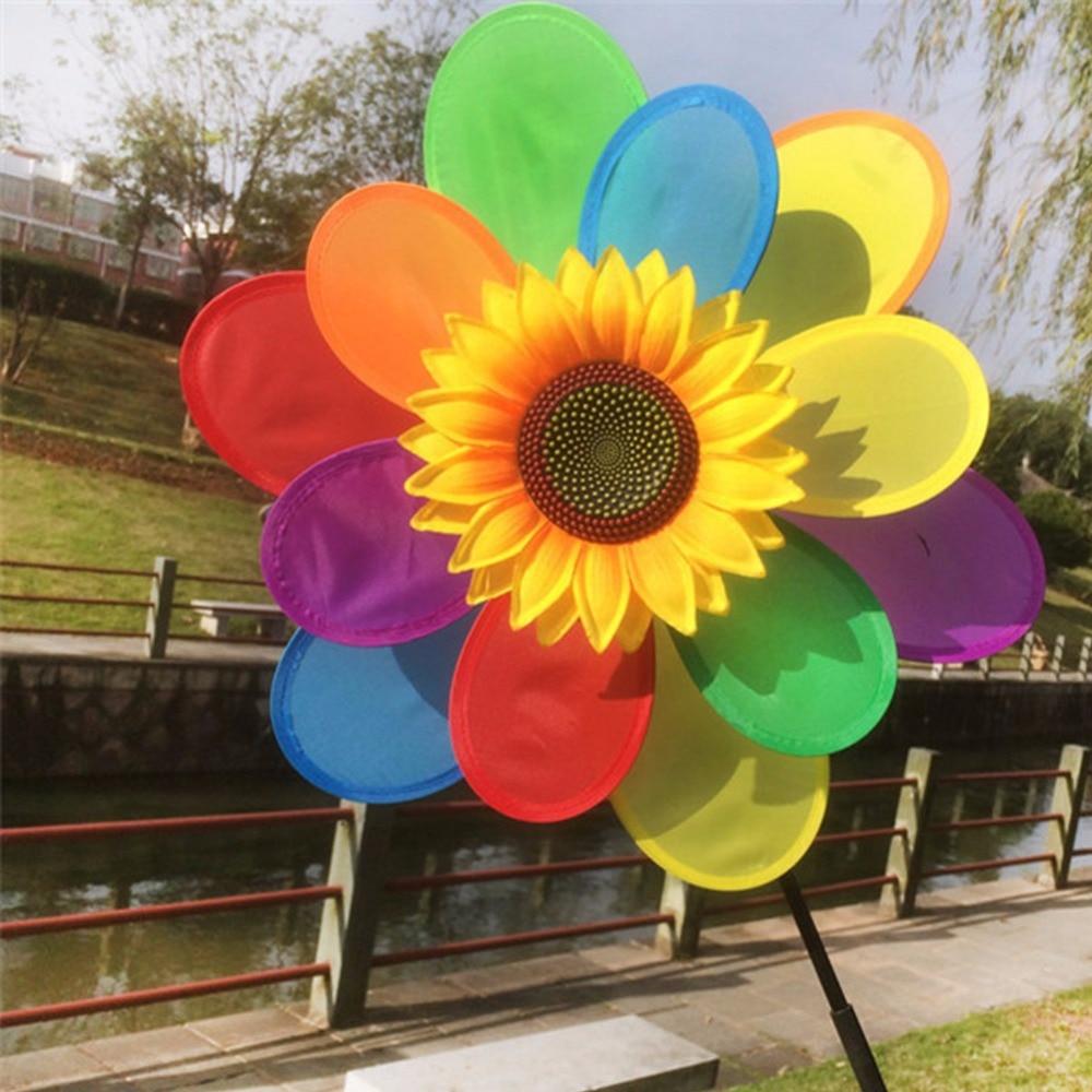 1Pc New Sunflower Windmill Wind Spinner Rainbow Whirligig Wheel Home Yard Decoration Child Toy Gift