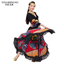 2016 High quality cheap gypsy belly dance skirts for women big flowers dance costume NMMQB01
