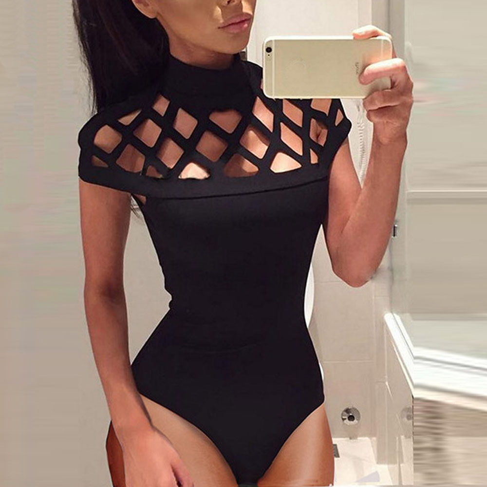 Plus Size Women's Choker High Neck Summer Jumpsuit Net Sexy Bodycon Caged Sleeves Hollow Out Backless Jumpsuit Casual Bodysuit