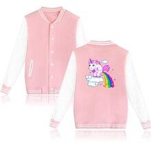Cartoon unicorn Baseball Uniform Jacket Coat Women Unisex Harajuku Sweatshirts Winter Fashion Hip Hop Pink Hoodie Brand Clothing