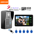 "9"" Touch Monitor Video Record Code door phone Intercom Doorbell Password/ID Card/Remote Control/8GB Card Recording Take Pictures"
