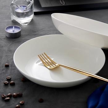 Czysty biały porcelanowy talerz kości talerz warzywny domowe okrągłe ceramiczne talerz z białej porcelany talerz głęboki kuchenka mikrofalowa Pl tanie i dobre opinie ROUND Stałe