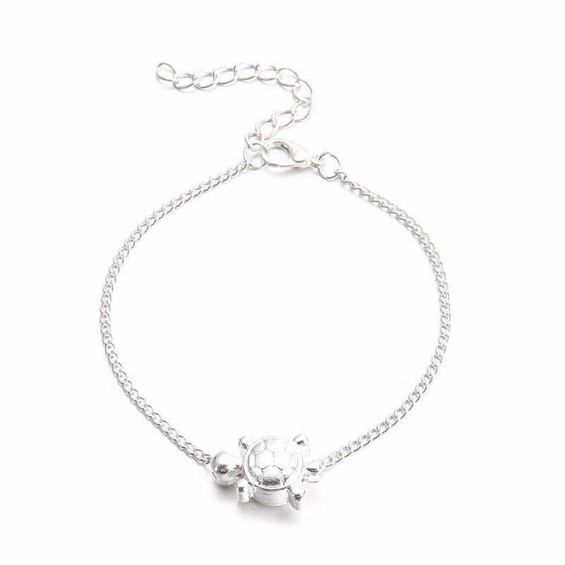 Mostyle ножные браслеты для женщин и мужчин античный серебряный цвет черепаха Веревка лодыжки браслет пляжная цепь морские животные Черепаха ноги ювелирные изделия