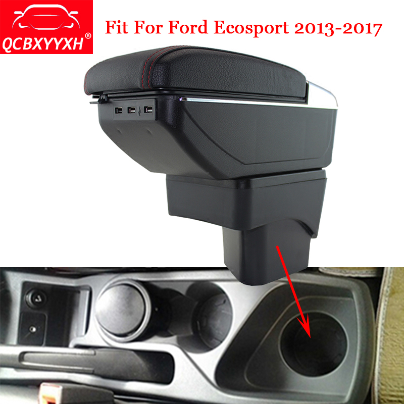 QCBXYYXH ABS Car Armrest Box Center Console Storage Box Holder Case Auto Accessories Car-Styling Fit For Ford Ecosport 2013-2017 universal leather car armrest central store content storage box with cup holder center console armrests free shipping