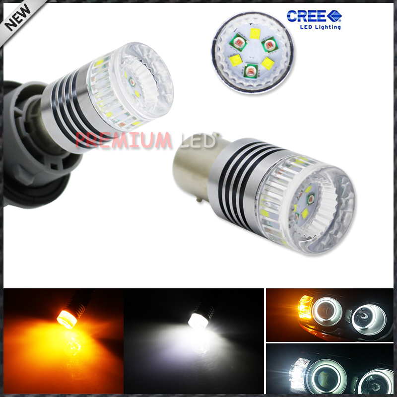iJDM 1157 2057 2357 BA15s S25 High Power Super Bright White/Amber Shine Switchback  LED Bulbs for Front Turn Signal Lights